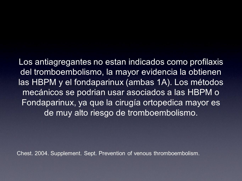 Los antiagregantes no estan indicados como profilaxis del tromboembolismo, la mayor evidencia la obtienen las HBPM y el fondaparinux (ambas 1A). Los m