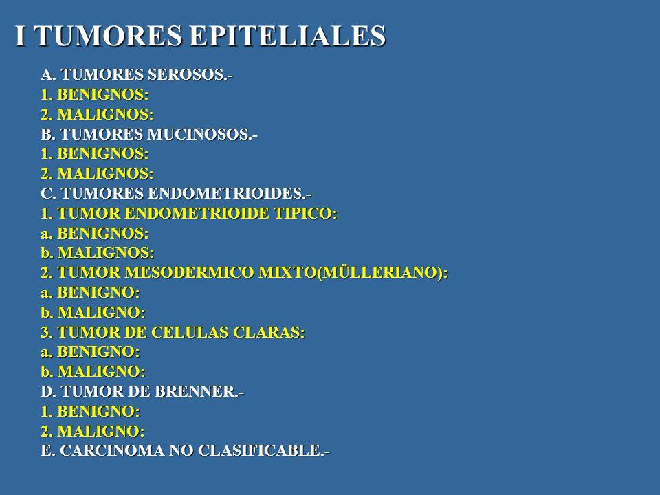 I TUMORES EPITELIALES A. TUMORES SEROSOS.- 1. BENIGNOS: 2.