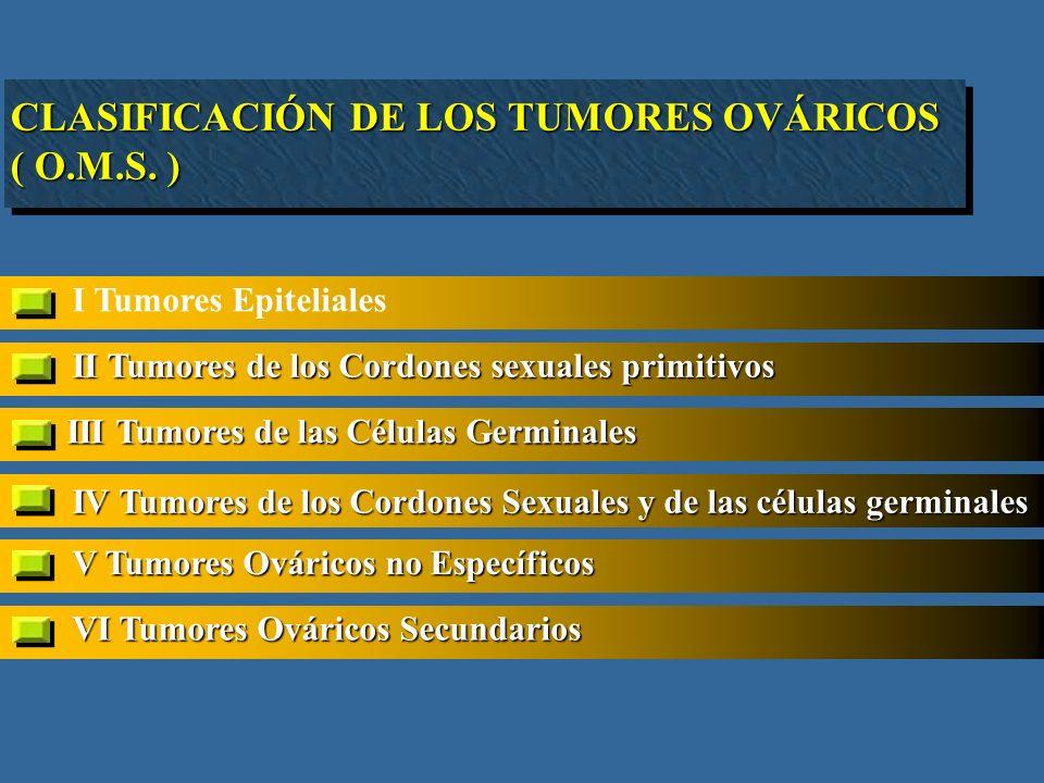 I Tumores Epiteliales II Tumores de los Cordones sexuales primitivos III Tumores de las Células Germinales IV Tumores de los Cordones Sexuales y de las células germinales V Tumores Ováricos no Específicos CLASIFICACIÓN DE LOS TUMORES OVÁRICOS ( O.M.S.