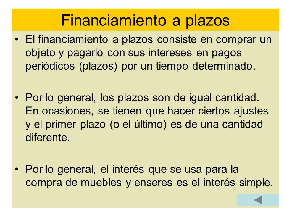 El financiamiento a plazos consiste en comprar un objeto y pagarlo con sus intereses en pagos periódicos (plazos) por un tiempo determinado. Por lo ge