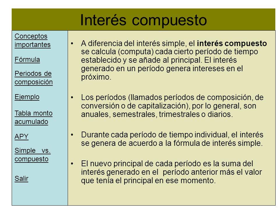 Interés compuesto l A diferencia del interés simple, el interés compuesto se calcula (computa) cada cierto período de tiempo establecido y se añade al