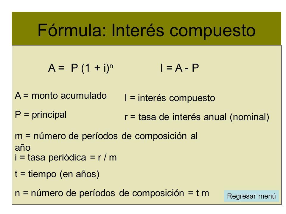 Fórmula: Interés compuesto i = tasa periódica = r / m m = número de períodos de composición al año n = número de períodos de composición = t m P = pri