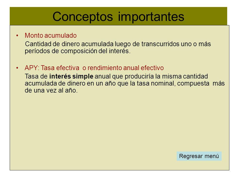 Conceptos importantes l Monto acumulado Cantidad de dinero acumulada luego de transcurridos uno o más períodos de composición del interés. APY: Tasa e