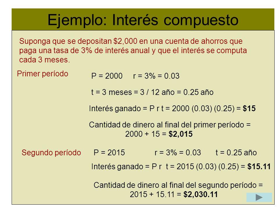 Ejemplo: Interés compuesto Suponga que se depositan $2,000 en una cuenta de ahorros que paga una tasa de 3% de interés anual y que el interés se compu