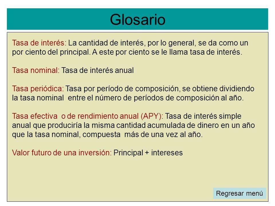 Glosario l Tasa de interés: La cantidad de interés, por lo general, se da como un por ciento del principal. A este por ciento se le llama tasa de inte