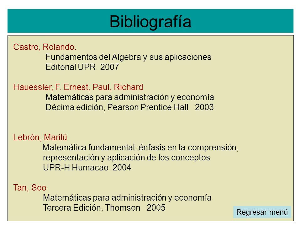 Bibliografía l Castro, Rolando. Fundamentos del Algebra y sus aplicaciones Editorial UPR 2007 Hauessler, F. Ernest, Paul, Richard Matemáticas para adm