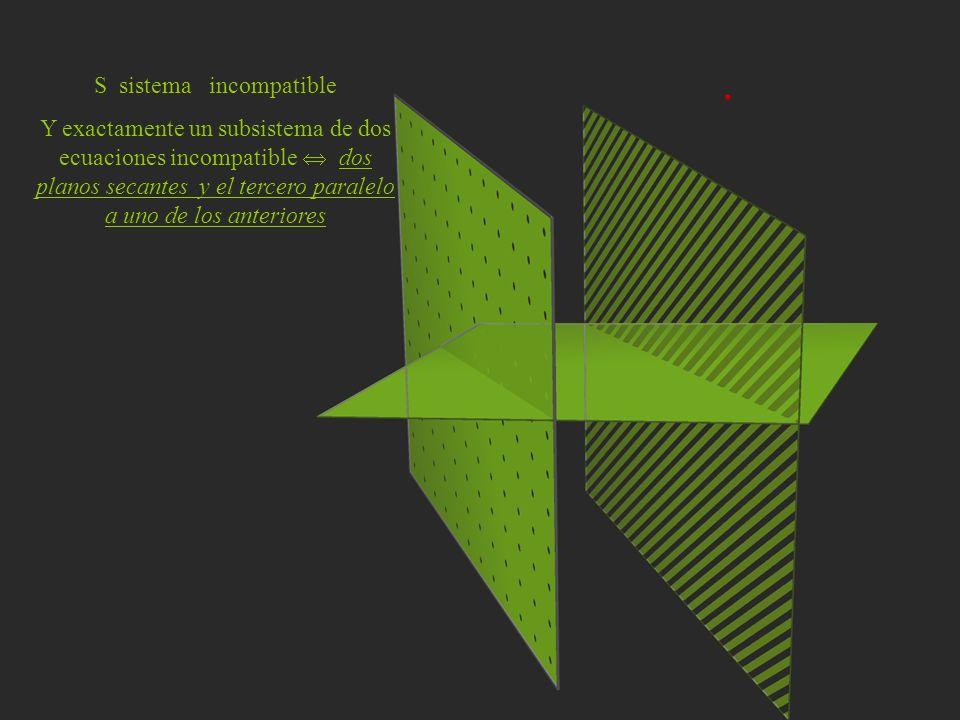 S sistema incompatible Y exactamente un subsistema de dos ecuaciones incompatible dos planos secantes y el tercero paralelo a uno de los anteriores
