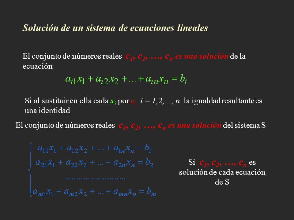 Solución de un sistema de ecuaciones lineales El conjunto de números reales c 1, c 2, …, c n es una solución de la ecuación Si al sustituir en ella ca