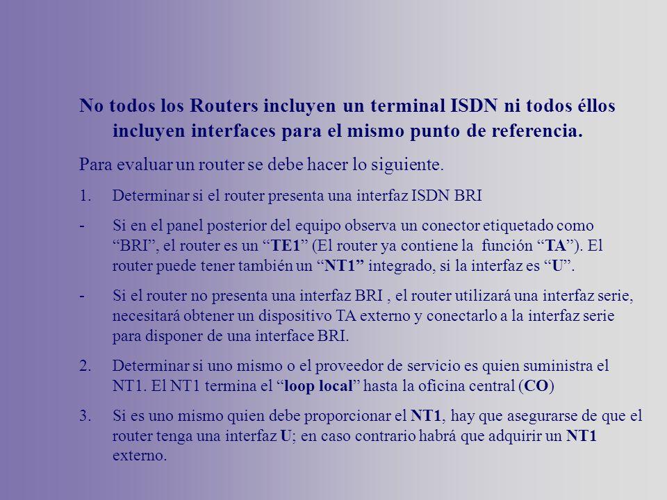 No todos los Routers incluyen un terminal ISDN ni todos éllos incluyen interfaces para el mismo punto de referencia. Para evaluar un router se debe ha