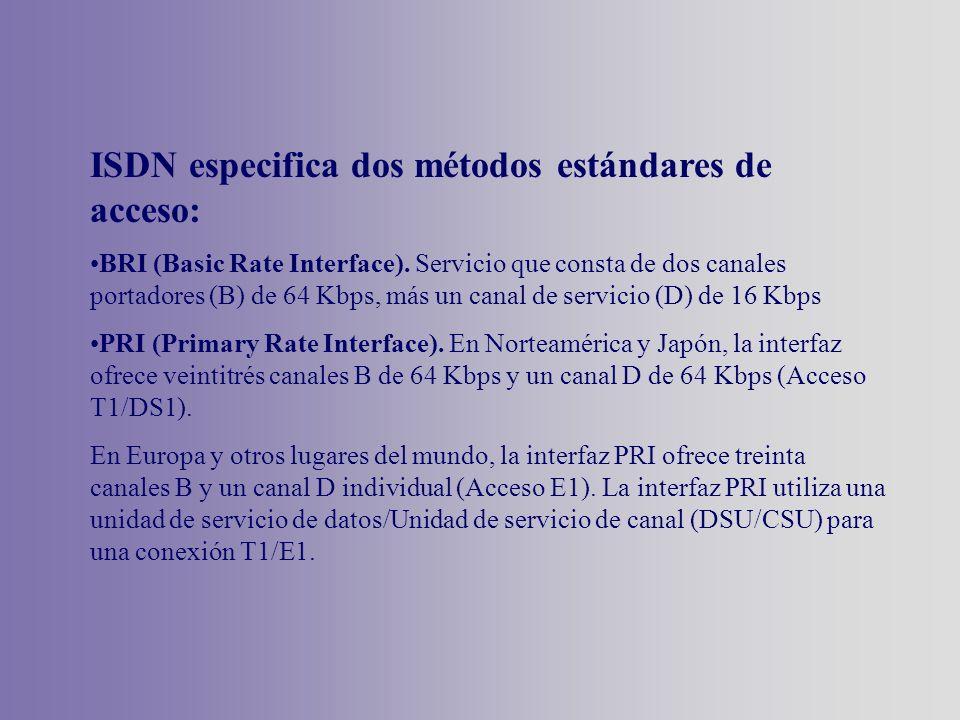 ISDN especifica dos métodos estándares de acceso: BRI (Basic Rate Interface). Servicio que consta de dos canales portadores (B) de 64 Kbps, más un can