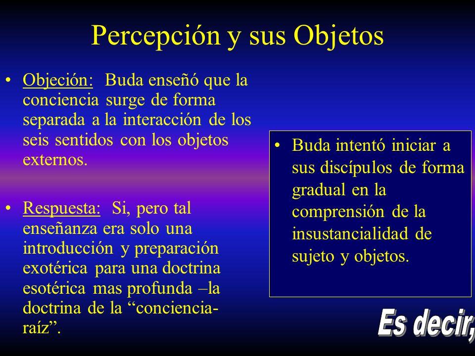 Percepción y sus Objetos Objeción: Buda enseñó que la conciencia surge de forma separada a la interacción de los seis sentidos con los objetos externo