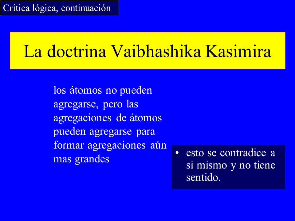 La doctrina Vaibhashika Kasimira los átomos no pueden agregarse, pero las agregaciones de átomos pueden agregarse para formar agregaciones aún mas gra