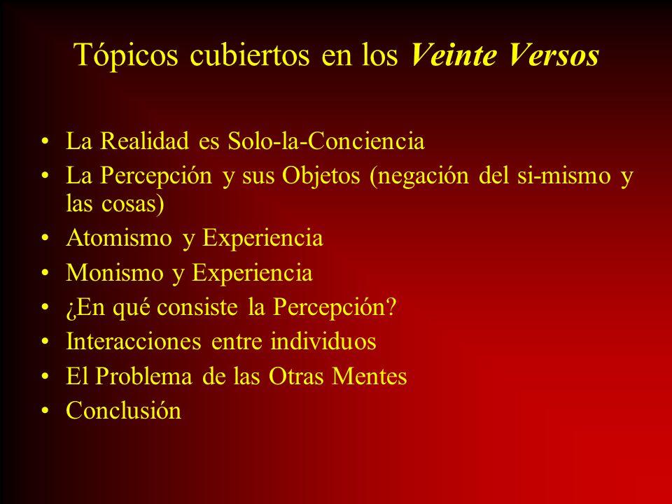 Tópicos cubiertos en los Veinte Versos La Realidad es Solo-la-Conciencia La Percepción y sus Objetos (negación del si-mismo y las cosas) Atomismo y Ex