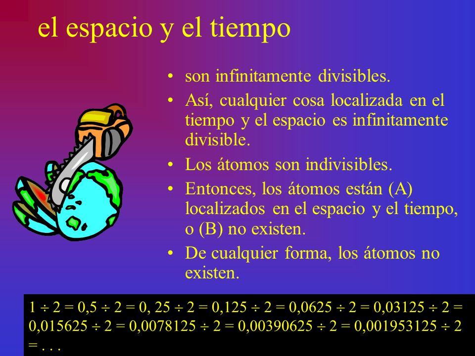 el espacio y el tiempo son infinitamente divisibles. Así, cualquier cosa localizada en el tiempo y el espacio es infinitamente divisible. Los átomos s