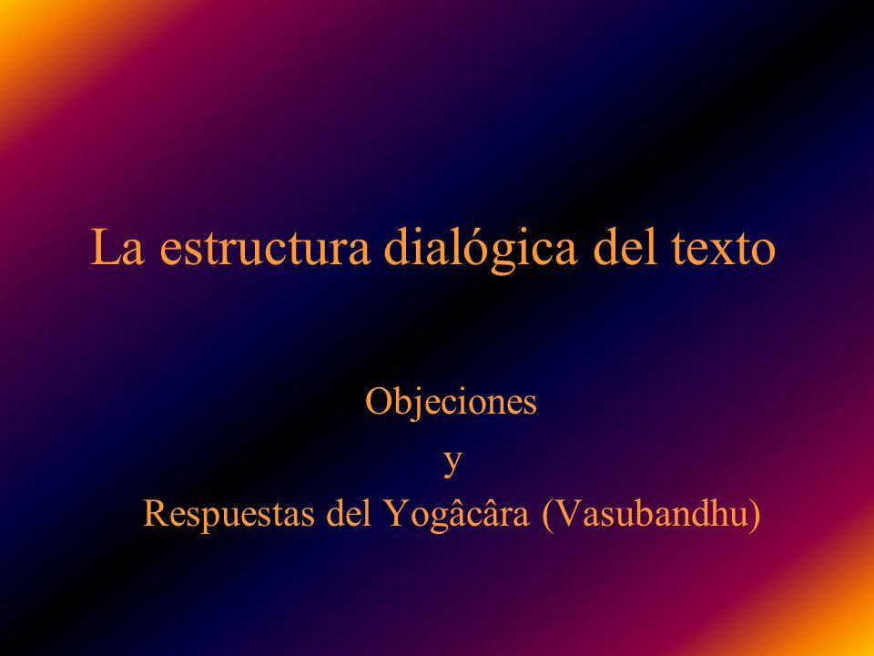 La estructura dialógica del texto Objeciones y Respuestas del Yogâcâra (Vasubandhu)