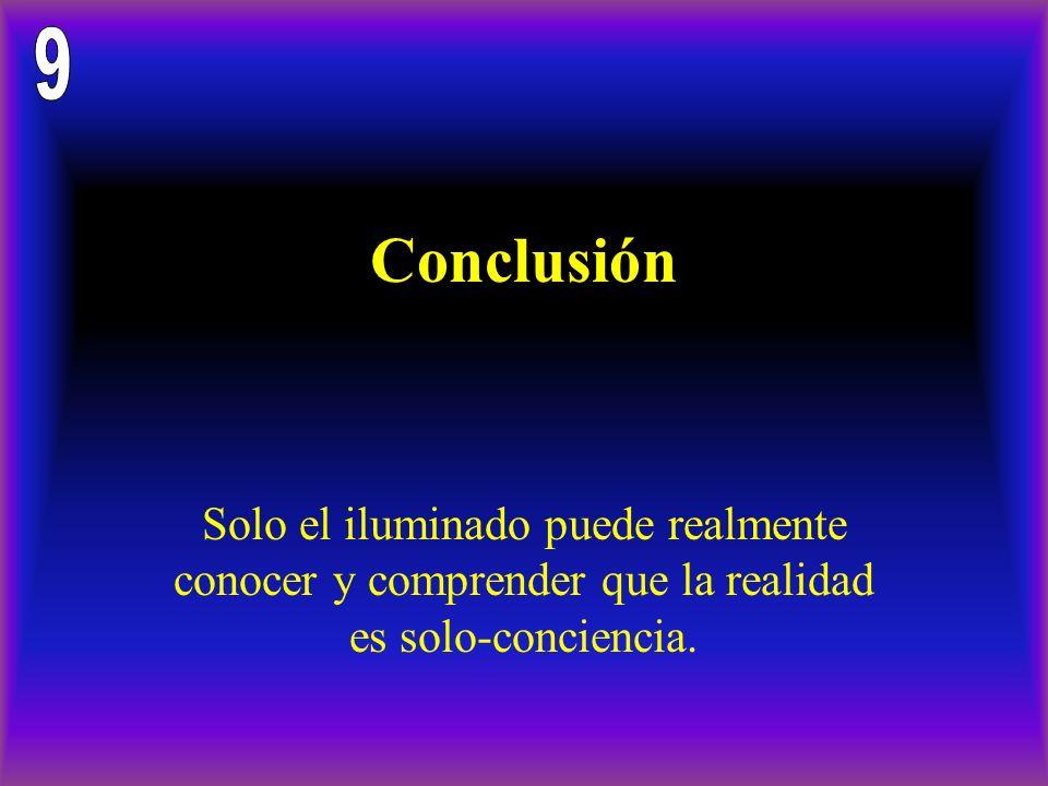Conclusión Solo el iluminado puede realmente conocer y comprender que la realidad es solo-conciencia.