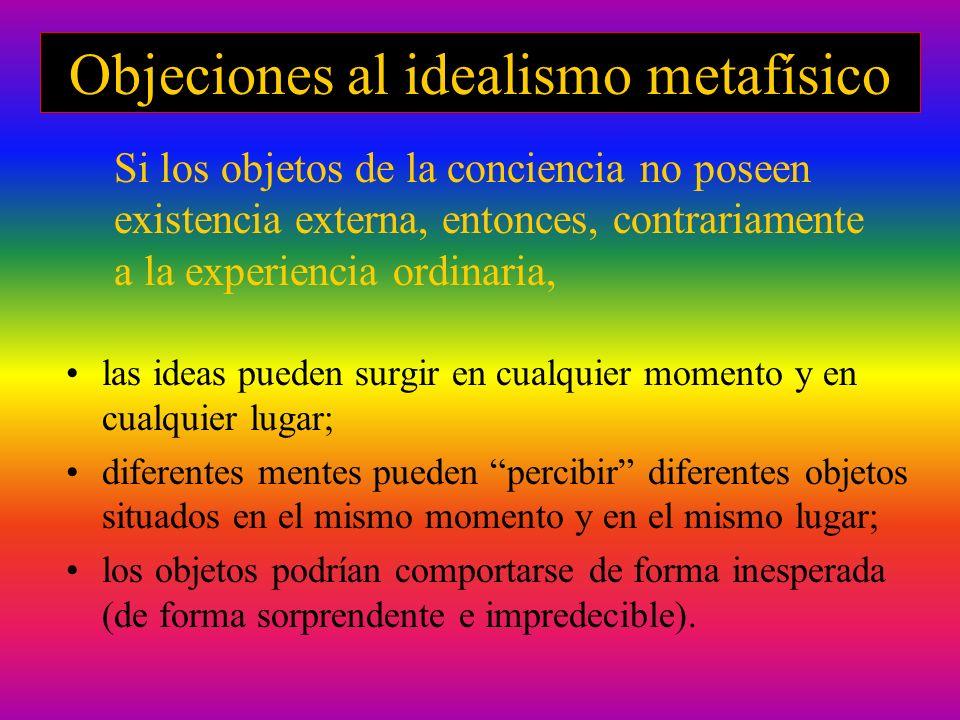 Objeciones al idealismo metafísico las ideas pueden surgir en cualquier momento y en cualquier lugar; diferentes mentes pueden percibir diferentes obj