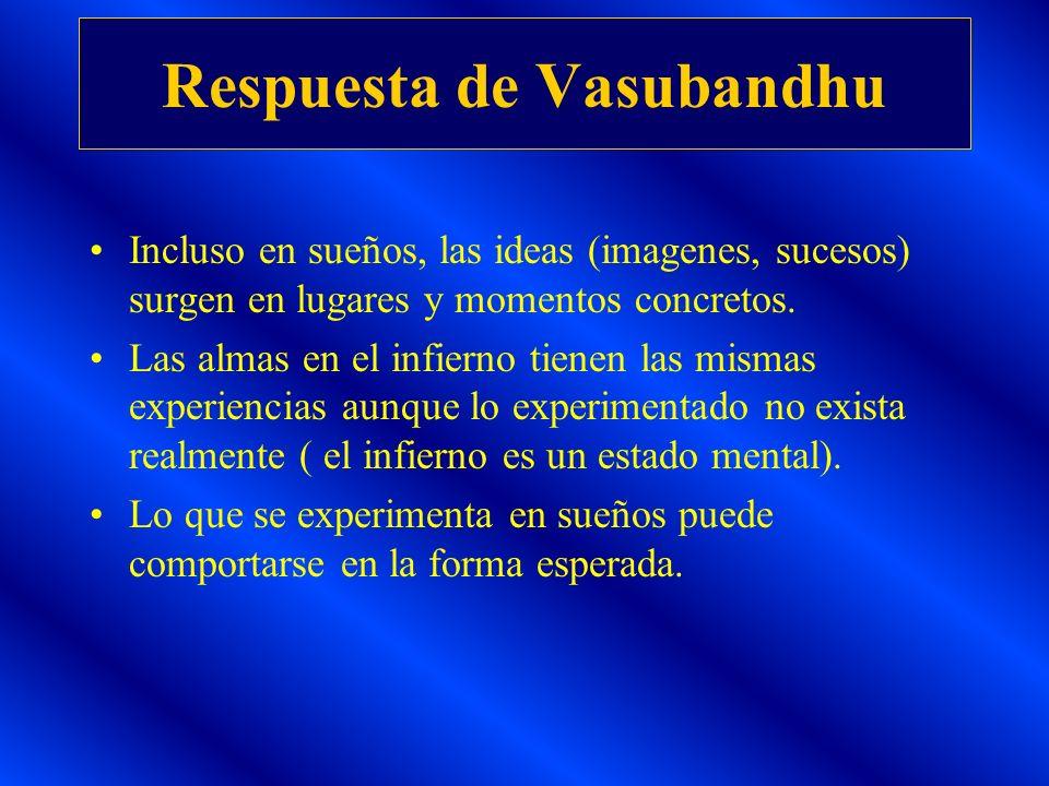 Respuesta de Vasubandhu Incluso en sueños, las ideas (imagenes, sucesos) surgen en lugares y momentos concretos. Las almas en el infierno tienen las m