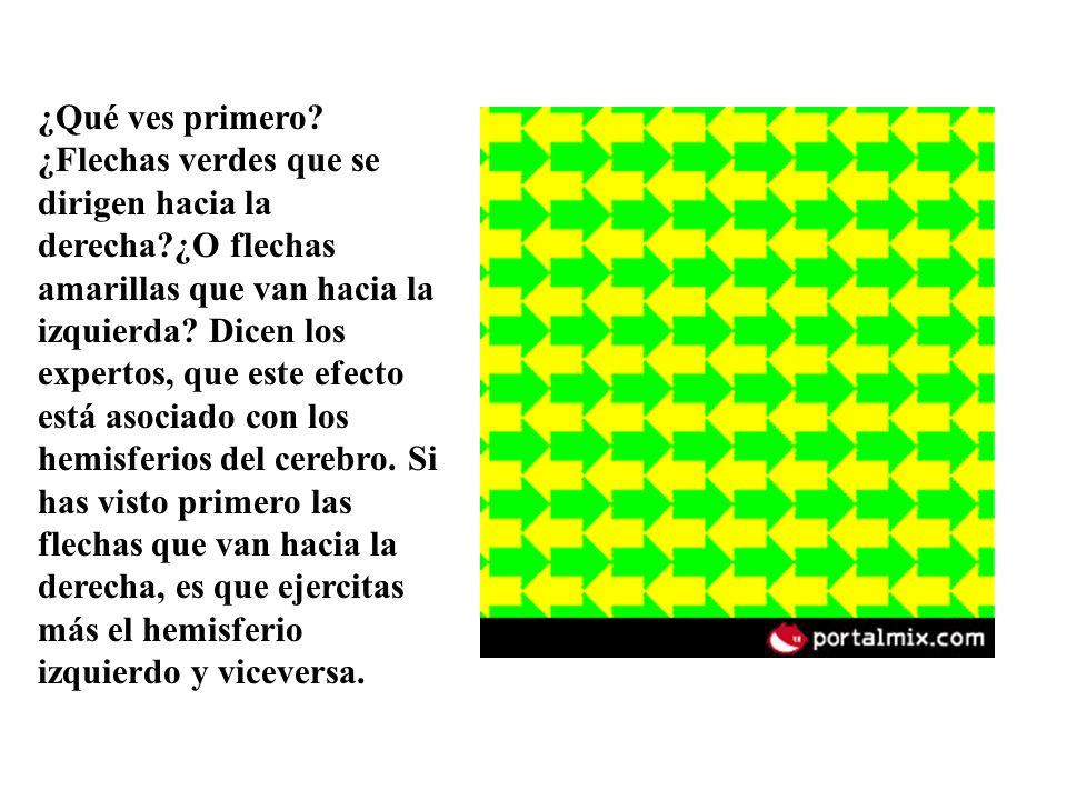 ¿Qué ves primero? ¿Flechas verdes que se dirigen hacia la derecha?¿O flechas amarillas que van hacia la izquierda? Dicen los expertos, que este efecto
