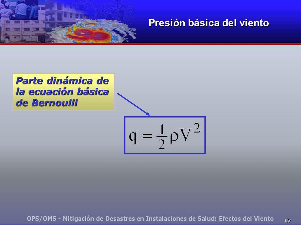 17 Presión básica del viento Parte dinámica de la ecuación básica de Bernoulli