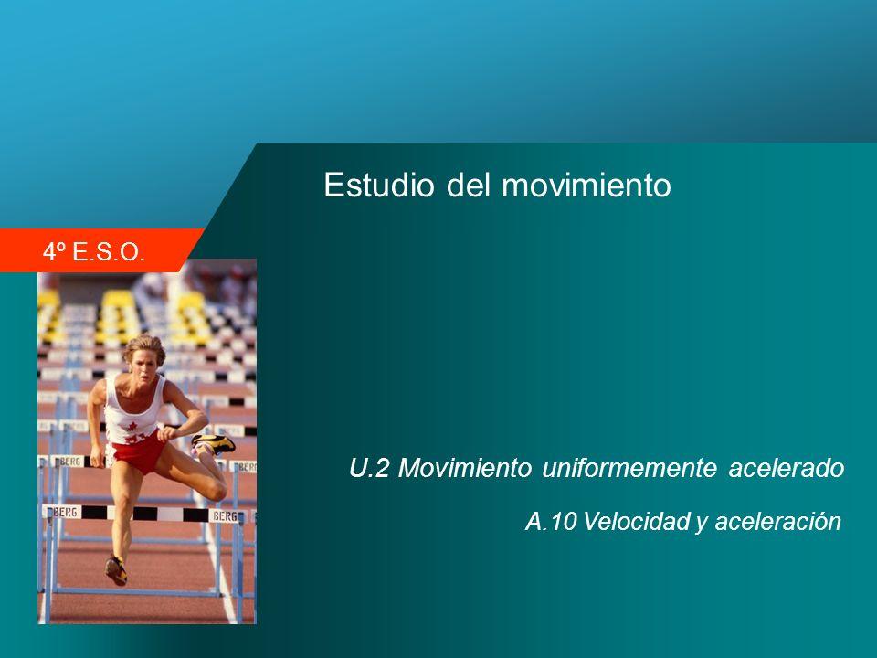 4º E.S.O. Estudio del movimiento U.2 Movimiento uniformemente acelerado A.10 Velocidad y aceleración