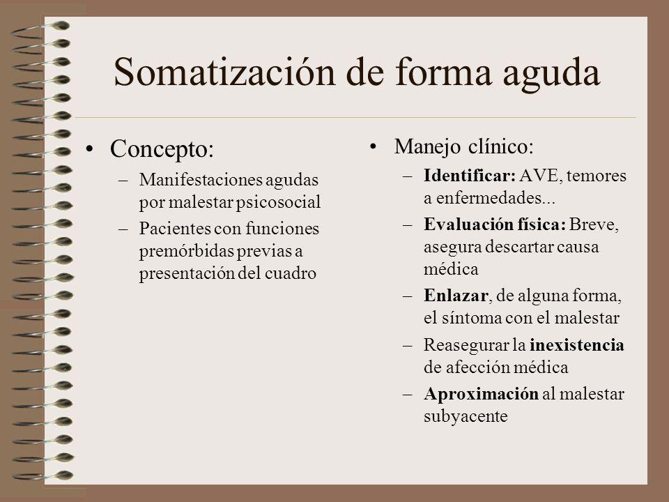 Somatización de forma aguda Concepto: –Manifestaciones agudas por malestar psicosocial –Pacientes con funciones premórbidas previas a presentación del