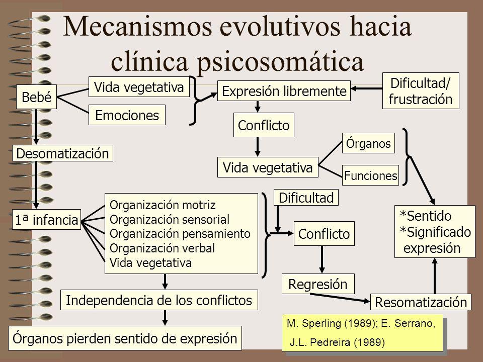 Mecanismos evolutivos hacia clínica psicosomática Bebé Desomatización 1ª infancia Vida vegetativa Conflicto Independencia de los conflictos *Sentido *