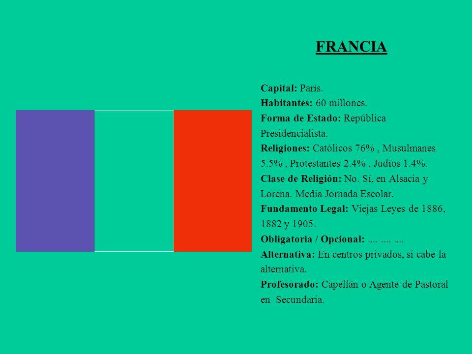FRANCIA Capital: París. Habitantes: 60 millones. Forma de Estado: República Presidencialista. Religiones: Católicos 76%, Musulmanes 5.5%, Protestantes