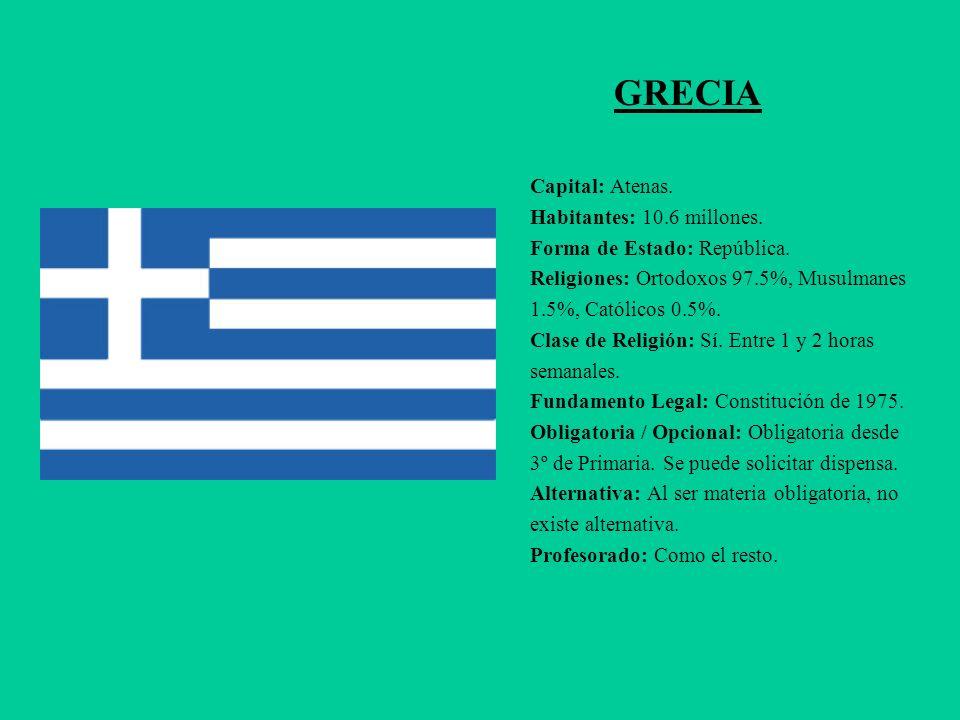 GRECIA Capital: Atenas. Habitantes: 10.6 millones. Forma de Estado: República. Religiones: Ortodoxos 97.5%, Musulmanes 1.5%, Católicos 0.5%. Clase de