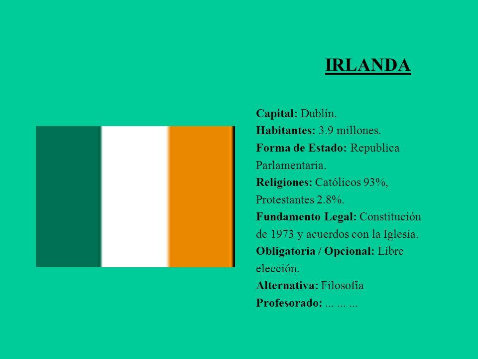 IRLANDA Capital: Dublín. Habitantes: 3.9 millones. Forma de Estado: Republica Parlamentaria. Religiones: Católicos 93%, Protestantes 2.8%. Fundamento