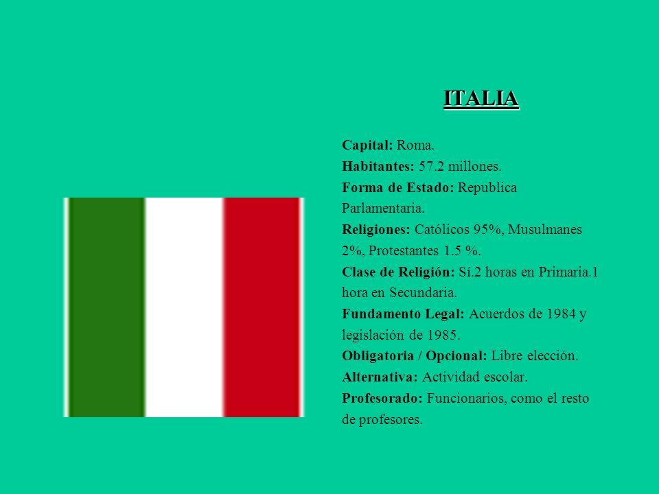 ITALIA ITALIA Capital: Roma. Habitantes: 57.2 millones. Forma de Estado: Republica Parlamentaria. Religiones: Católicos 95%, Musulmanes 2%, Protestant