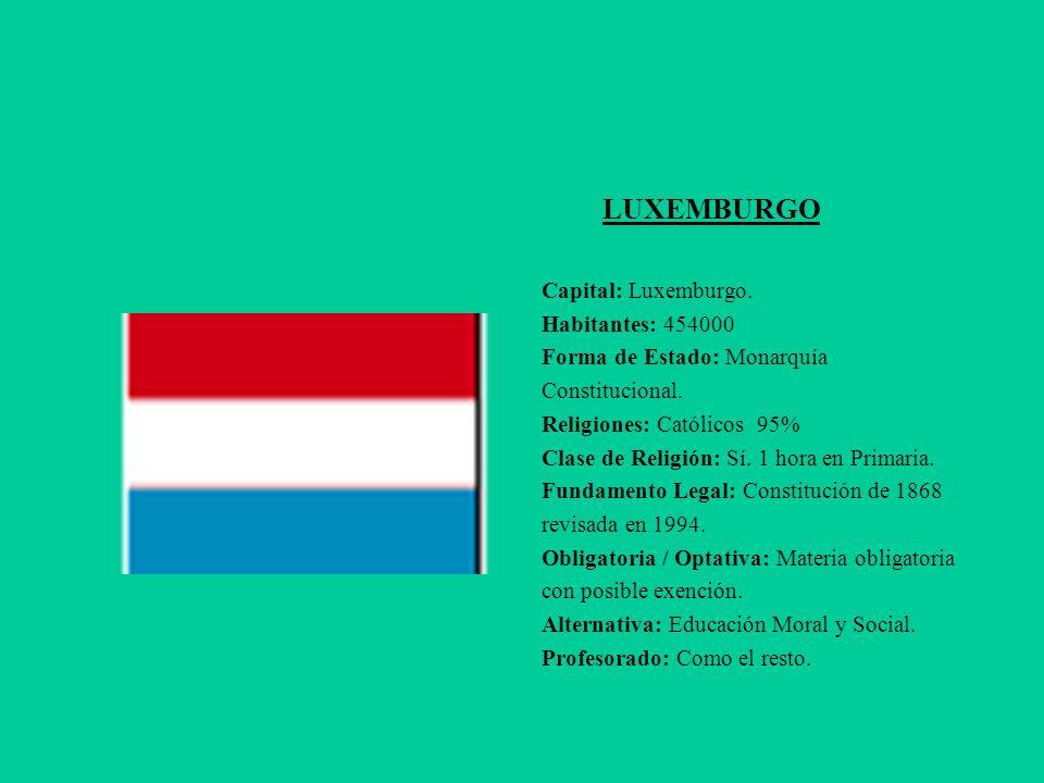 LUXEMBURGO Capital: Luxemburgo. Habitantes: 454000 Forma de Estado: Monarquía Constitucional. Religiones: Católicos 95% Clase de Religión: Sí. 1 hora