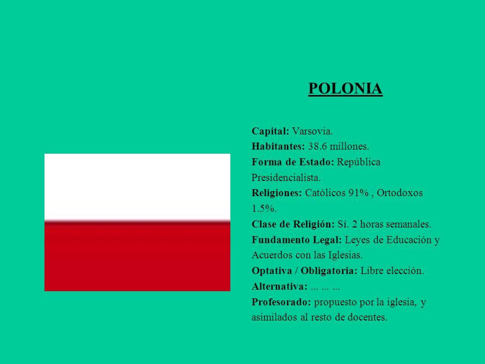 POLONIA Capital: Varsovia. Habitantes: 38.6 millones. Forma de Estado: República Presidencialista. Religiones: Católicos 91%, Ortodoxos 1.5%. Clase de