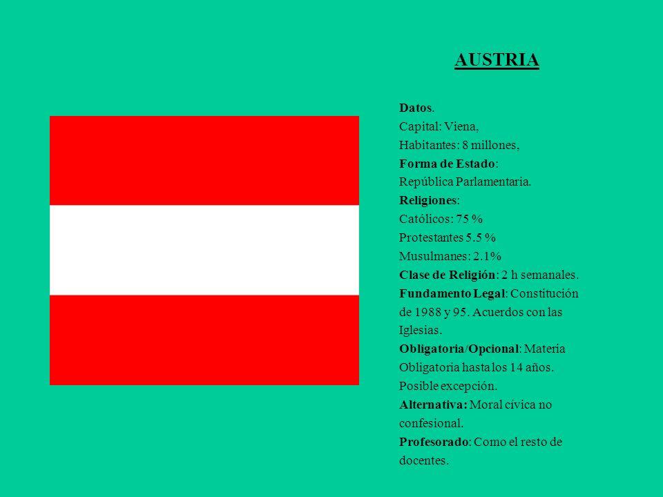 AUSTRIA Datos. Capital: Viena, Habitantes: 8 millones, Forma de Estado: República Parlamentaria. Religiones: Católicos: 75 % Protestantes 5.5 % Musulm