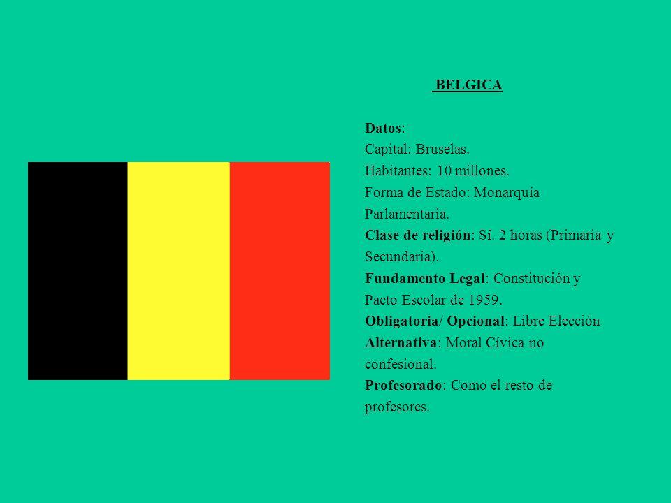 BELGICA Datos: Capital: Bruselas. Habitantes: 10 millones. Forma de Estado: Monarquía Parlamentaria. Clase de religión: Sí. 2 horas (Primaria y Secund