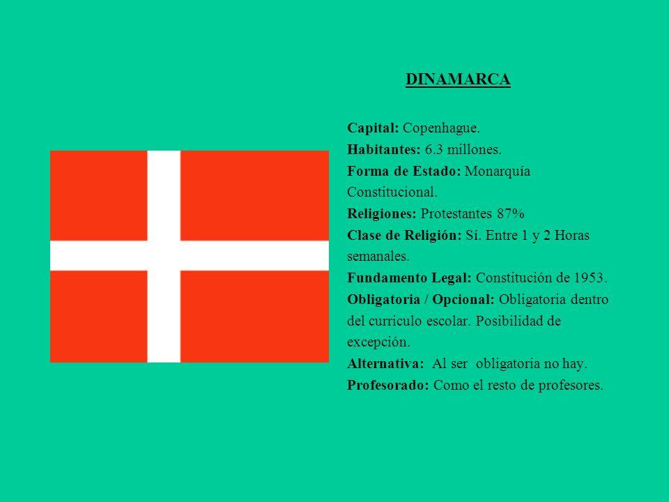 DINAMARCA Capital: Copenhague. Habitantes: 6.3 millones. Forma de Estado: Monarquía Constitucional. Religiones: Protestantes 87% Clase de Religión: Sí