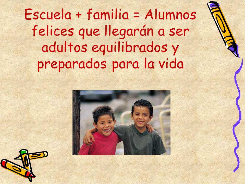 Escuela + familia = Alumnos felices que llegarán a ser adultos equilibrados y preparados para la vida