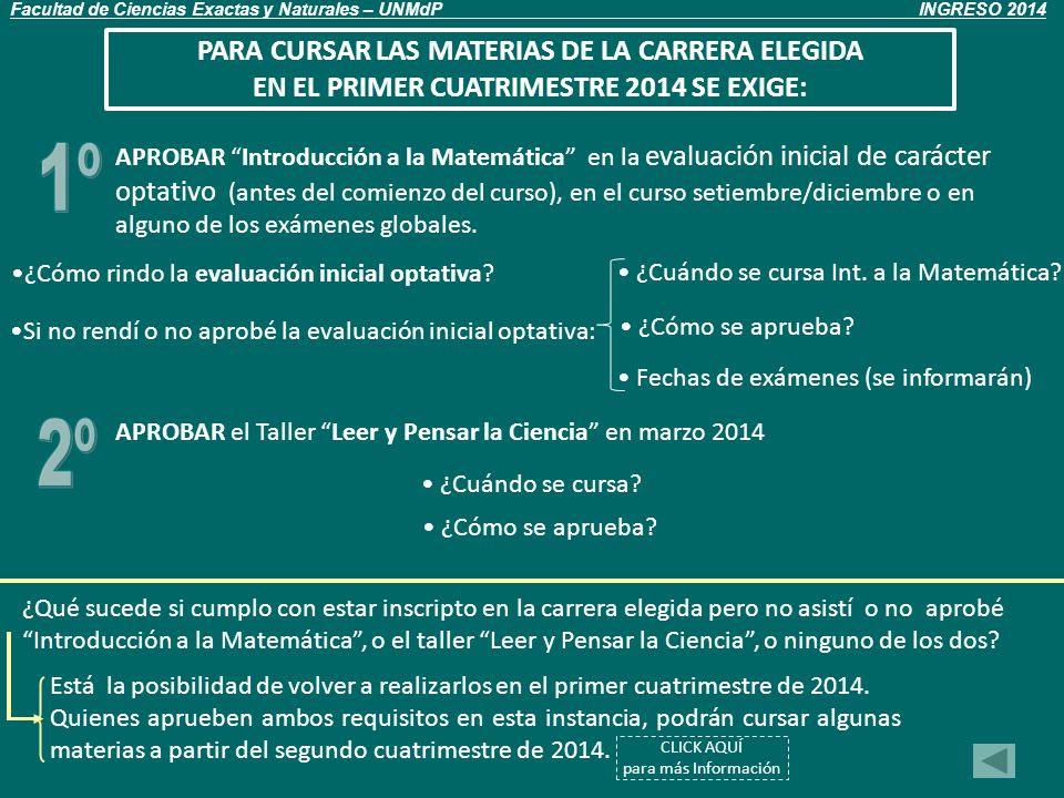 INTRODUCCIÓN A LA MATEMÁTICA ¿Cuándo curso.