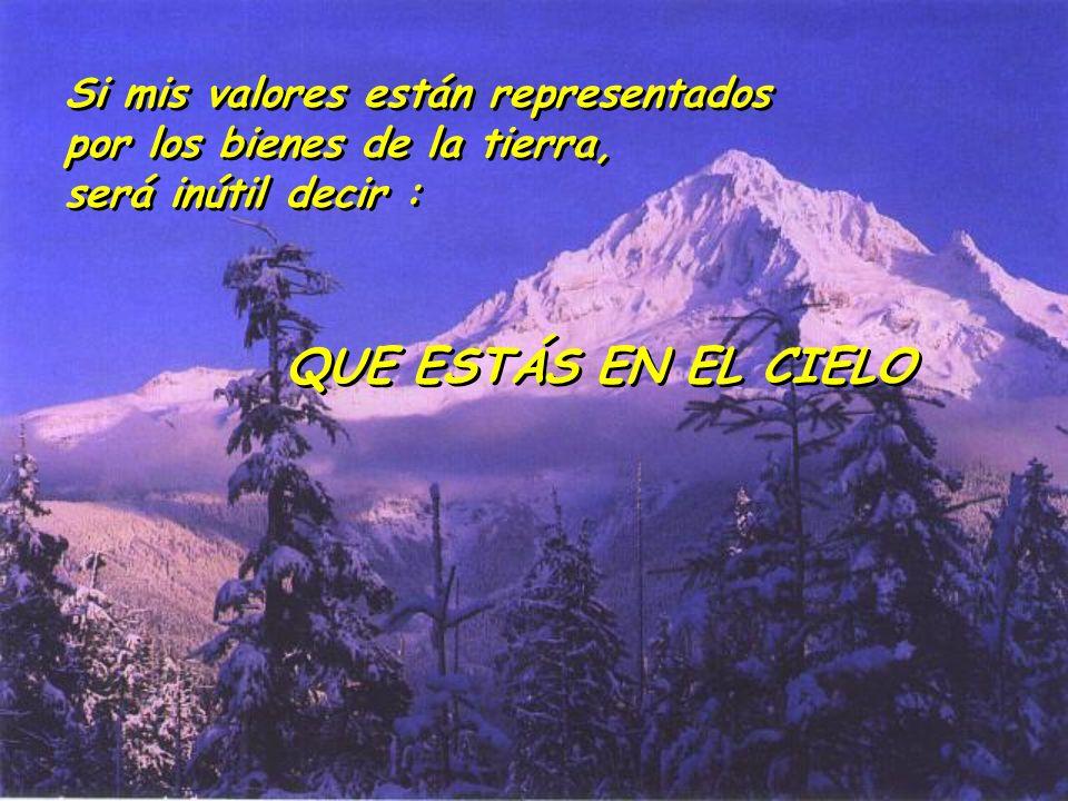 Si mis valores están representados por los bienes de la tierra, será inútil decir : Si mis valores están representados por los bienes de la tierra, se