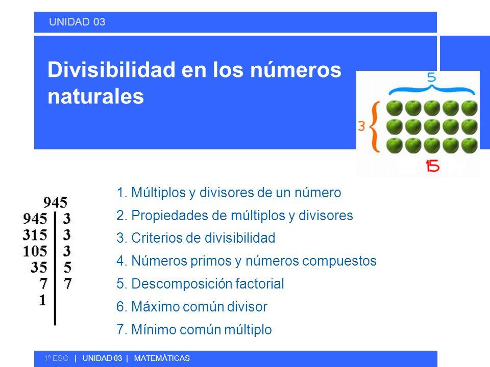 Divisibilidad en los números naturales 1. Múltiplos y divisores de un número 2. Propiedades de múltiplos y divisores 3. Criterios de divisibilidad 4.