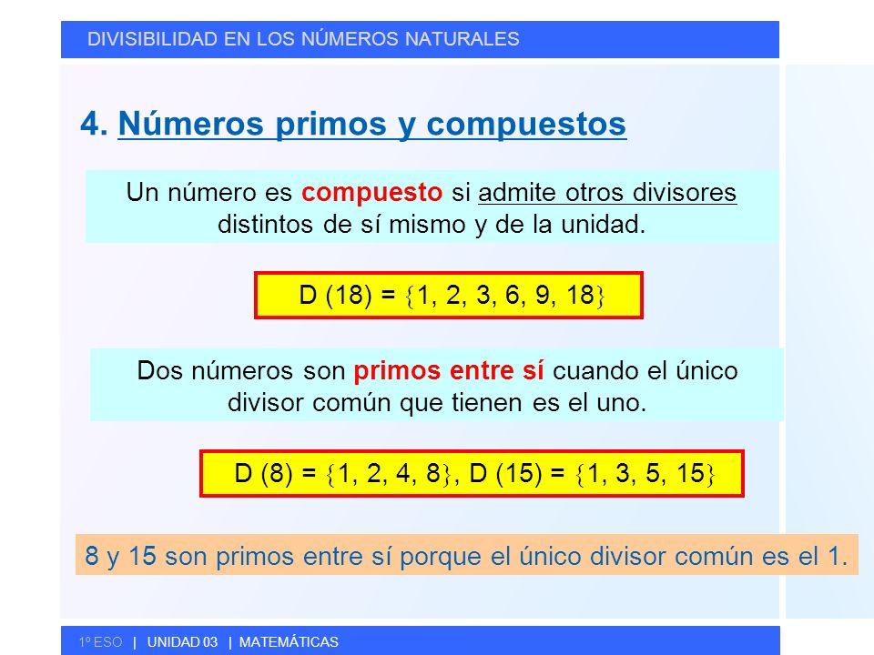 © GELV 4. Números primos y compuestos DIVISIBILIDAD EN LOS NÚMEROS NATURALES 1º ESO | UNIDAD 03 | MATEMÁTICAS Un número es compuesto si admite otros d