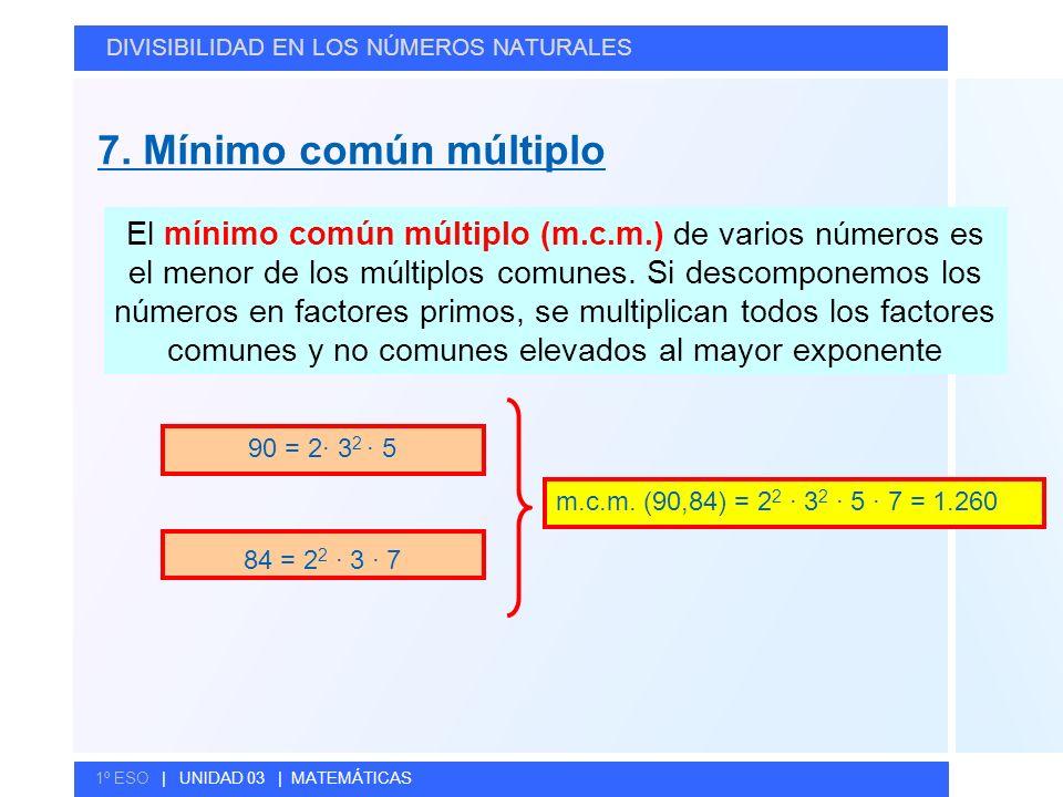 © GELV 7. Mínimo común múltiplo DIVISIBILIDAD EN LOS NÚMEROS NATURALES 1º ESO | UNIDAD 03 | MATEMÁTICAS El mínimo común múltiplo (m.c.m.) de varios nú