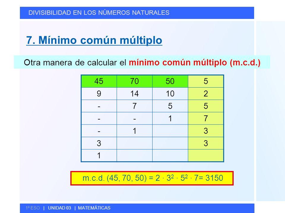 © GELV DIVISIBILIDAD EN LOS NÚMEROS NATURALES 1º ESO | UNIDAD 03 | MATEMÁTICAS Otra manera de calcular el mínimo común múltiplo (m.c.d.) m.c.d. (45, 7