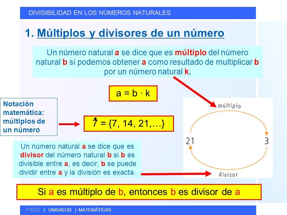 © GELV 1. Múltiplos y divisores de un número DIVISIBILIDAD EN LOS NÚMEROS NATURALES 1º ESO | UNIDAD 03 | MATEMÁTICAS Un número natural a se dice que e