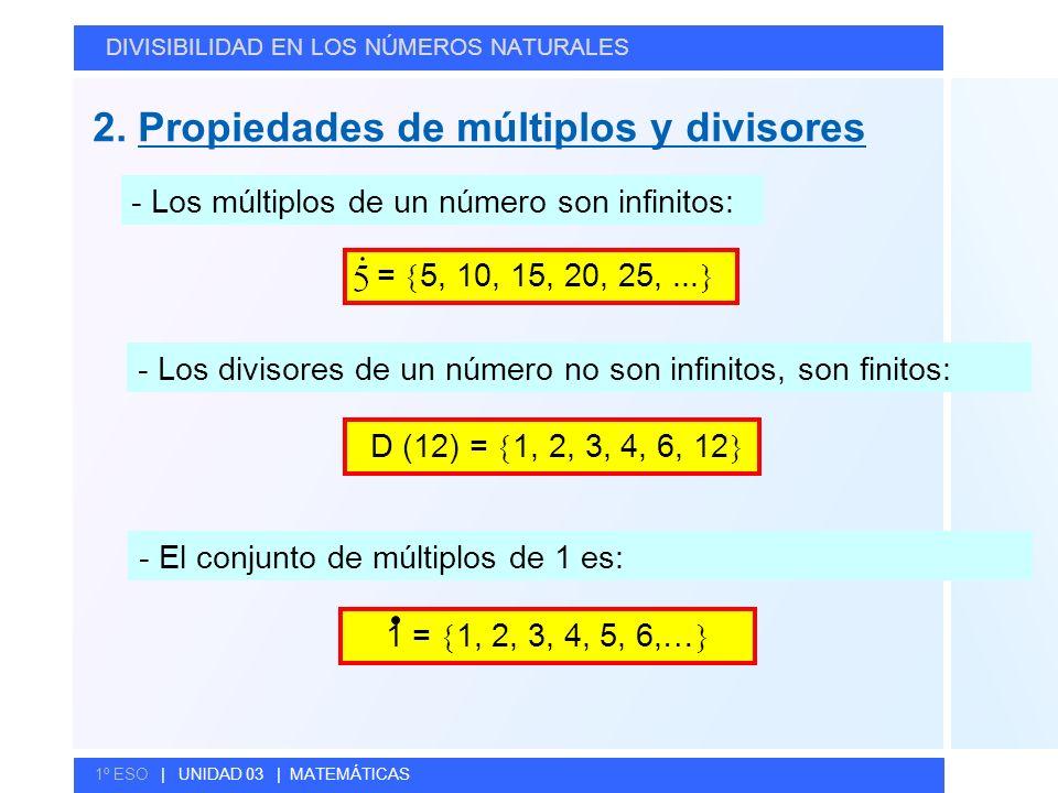 © GELV 2. Propiedades de múltiplos y divisores DIVISIBILIDAD EN LOS NÚMEROS NATURALES 1º ESO | UNIDAD 03 | MATEMÁTICAS - Los múltiplos de un número so