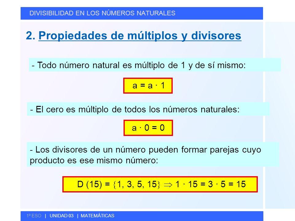 © GELV 2. Propiedades de múltiplos y divisores DIVISIBILIDAD EN LOS NÚMEROS NATURALES 1º ESO | UNIDAD 03 | MATEMÁTICAS - El cero es múltiplo de todos