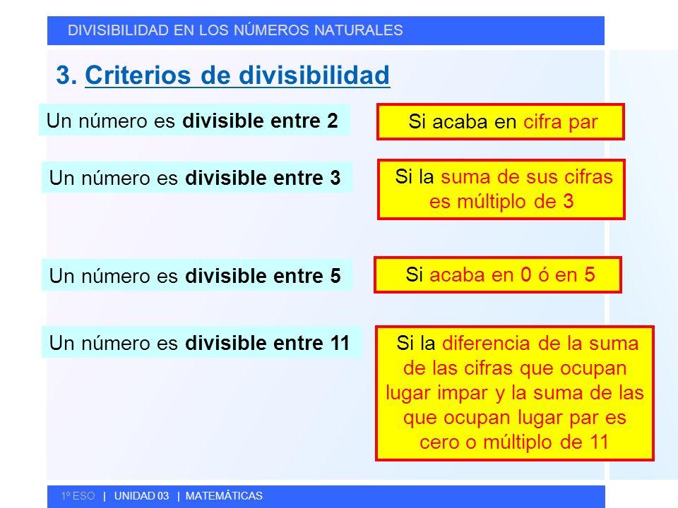 © GELV 3. Criterios de divisibilidad DIVISIBILIDAD EN LOS NÚMEROS NATURALES 1º ESO | UNIDAD 03 | MATEMÁTICAS Un número es divisible entre 2 Si acaba e