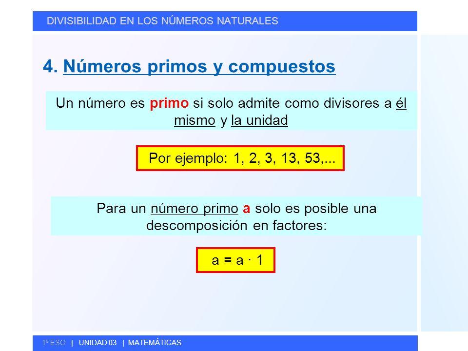 © GELV 4. Números primos y compuestos DIVISIBILIDAD EN LOS NÚMEROS NATURALES 1º ESO | UNIDAD 03 | MATEMÁTICAS Un número es primo si solo admite como d