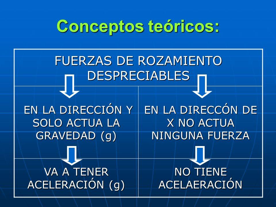 Conceptos teóricos: FUERZAS DE ROZAMIENTO DESPRECIABLES EN LA DIRECCIÓN Y SOLO ACTUA LA GRAVEDAD (g) EN LA DIRECCIÓN Y SOLO ACTUA LA GRAVEDAD (g) EN L