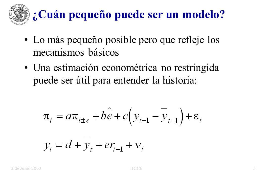3 de Junio 2003BCCh5 Lo más pequeño posible pero que refleje los mecanismos básicos Una estimación econométrica no restringida puede ser útil para entender la historia: ¿Cuán pequeño puede ser un modelo